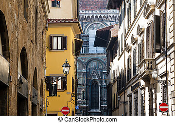 histroical, case, italia, facciate, firenze