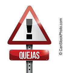 hiszpański, ostrzeżenie, complain, ilustracja, znak