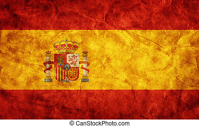hiszpania, grunge, flag., pozycja, z, mój, rocznik wina, retro, bandery, zbiór