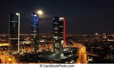 hiszpania, wieże, noc, madrid., cztery, handlowy okręg, ...