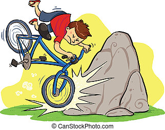 A boy cycling and then hit a rock. Vector EPS8 file.