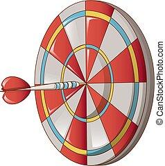 Hit darts target icon, cartoon style