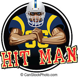 hit man - A football player with white helmet and blue...