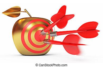Hit the bull's-eye. Golden Apple. Game of darts. Dart Hitting A Target. White background. 3d render