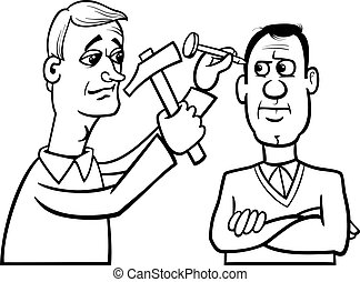 Black and White Cartoon Concept Illustration of Hit the Nail on the Head Saying or Proverb for Coloring Book