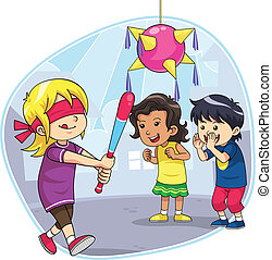A group of children playing hit the pinata.