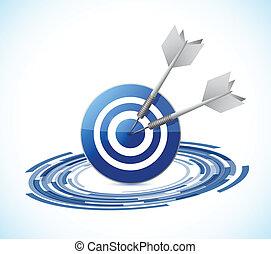 hit the target concept illustration design over a white ...