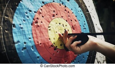 Hit the target in archery competition