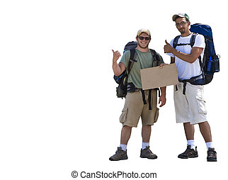 Hitch Hikers with a blank sign isolated