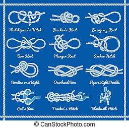 hitches, ensemble, nœuds, arcs, corde, tournants