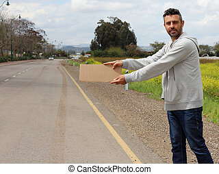Hitchhiker on the road
