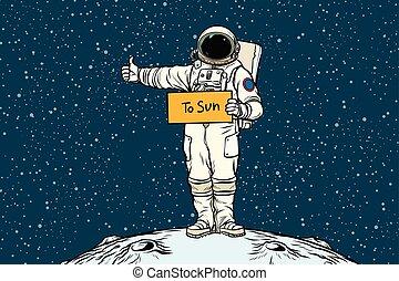 hitchhiker, passeios, astronauta, sol