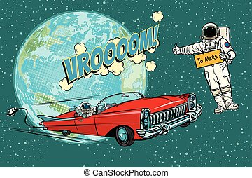 hitchhiking, 宇航員, 等待, 為, the, 電的汽車, 在, space., fli