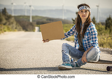 Hitchhiking girl
