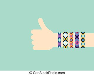 Hitchhiking hand with hippy friendship bracelets. Thumb up...