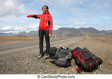 Hitchhiking - Low budget adventure in Iceland - girl ...