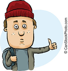 Hitchhiking Man - A cartoon man sticking out his thumb to ...