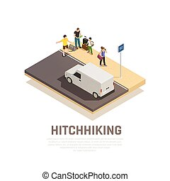 Hitchhiking Travel Isometric Composition