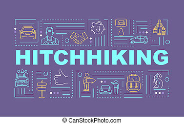 Hitchhiking word concepts banner. Budget travel. Auto stop. Money saving. Infographics with linear icons on eggplant background. Isolated typography. Vector outline RGB color illustration