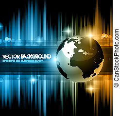 Hitech Abstract Business Background with Abstract Glowing motive and 3D earth.