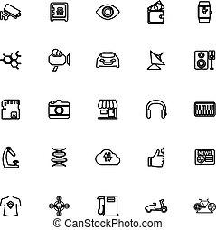 Hitechnology line icons on white background