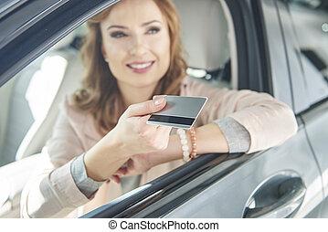 hitel, autó woman, kártya, ülés