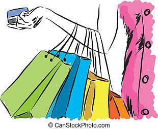 hitel, illu, bevásárlás, leány, kártya