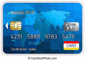 hitel kártya, elülső, nézet., eps, 8