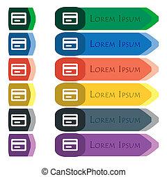 hitelkártya, ikon, cégtábla., állhatatos, közül, színes, fényes, hosszú, gombok, noha, további, kicsi, modules., lakás, tervezés