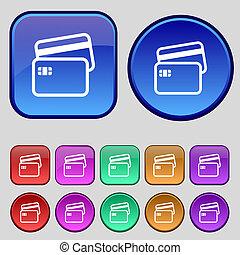 hitelkártya, ikon, cégtábla., egy, állhatatos, közül, tizenkettő, szüret, gombok, helyett, -e, design.