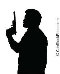 hitman, silhouette