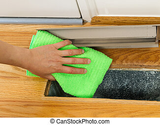 hitte, poetsen, binnen, ventilatierooster, vloer, stof