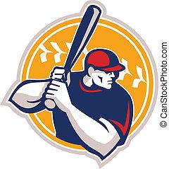 hitter, baseball, retro, pastella, lato, batting