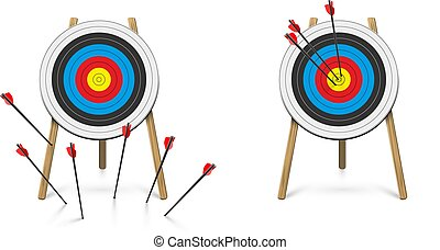 Hitting and missed target with archery arrow set. Goal ...