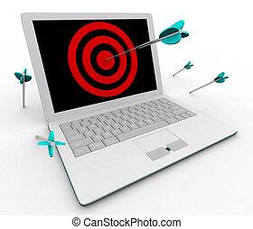 Hitting Bullseye on Computer Laptop