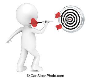 Hitting Target - 3D little human character throwing Dart....