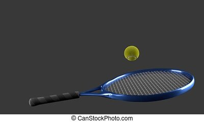 hitting tennis ball by racket - Repeating of hitting tennis...