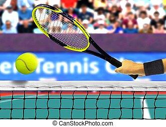 Hitting Tennis Ball Near Net