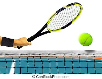 Hitting Tennis Ball on White