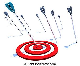 Hitting the Bulls Eye - One arrow hits the bulls eye while...