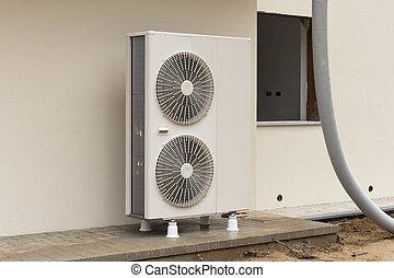 Hitze, pumpe, austauscher. Energie, pumpe, quelle, reneweble ...