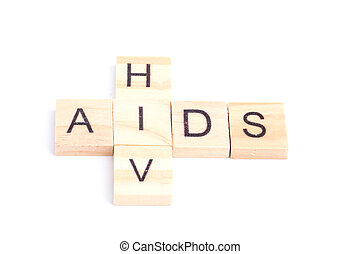HIV and AIDS word on square tile concept isolated on white background