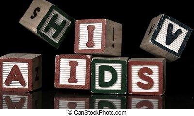 HIV blocks falling on AIDs blocks in slow motion