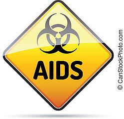 hiv, danger, biohazard, signe, refléter, arrière-plan., virus, aides, ombre, blanc