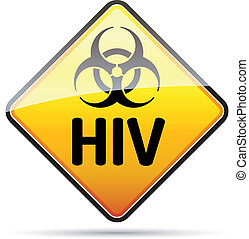 hiv, danger, biohazard, signe, refléter, arrière-plan., virus, ombre, blanc