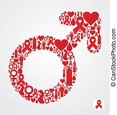 HIV icon set in male symbol shape
