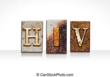 hiv, letterpress, conceito, isolado, branco