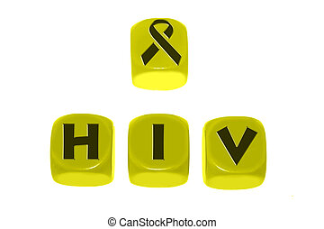 Hiv symbol with word HIV on cubes
