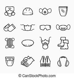 hivatással összefüggő, biztonság, és, egészség, ikonok