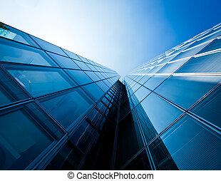 hivatal, épület., modern, pohár, körvonal, közül,...
